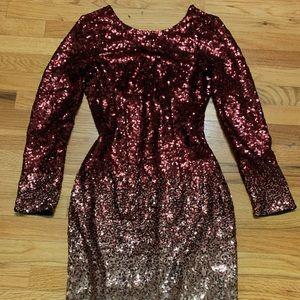 Dresses - Low back ombre sequin bodycon dress